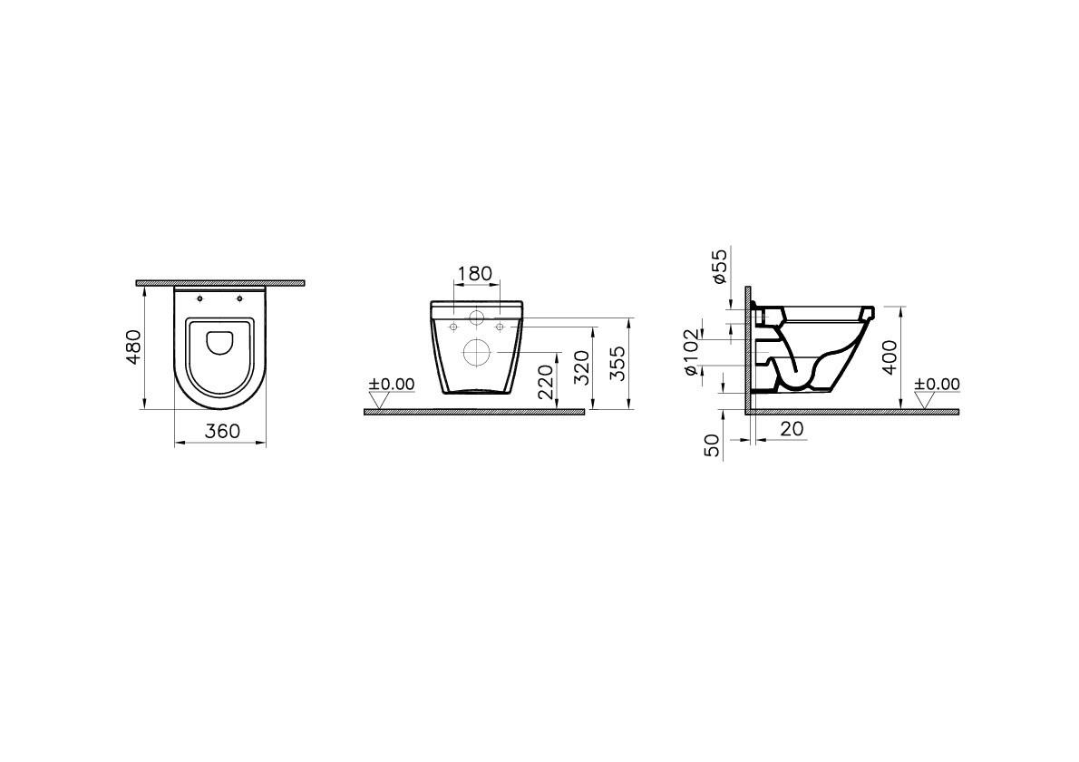 WC pott VitrA S50, koos vaikselt sulguva prill-lauga