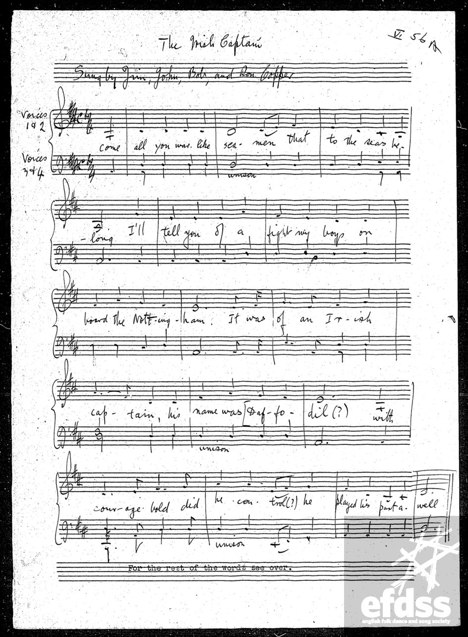 'The Irish Captain' as notated by Francis Collinson.