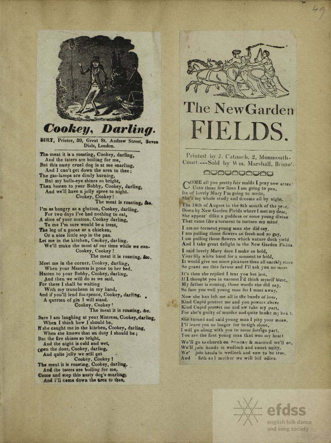 The New Garden Fields - Catnach broadside from the Frank Kidson Manuscript Collection, via the Full English.