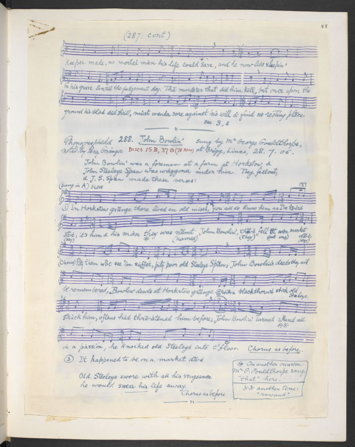 'Horkstow Grange', from Percy Grainger's MSS, via the EFDSS Full English archive.