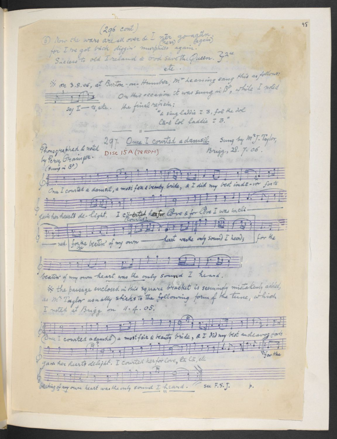 Once I courted a damsel, phonograph transcription by Percy Grainger