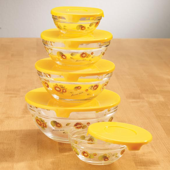Glass Sunflower Serving Bowls With Lids Storage Bowls