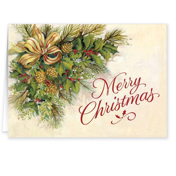 Christmas Greenery Secular Christmas Card Set Of 20