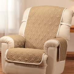 Elastic Kitchen Chair Covers White Fuzzy Deluxe Reversible Waterproof Recliner Cover - Walter Drake