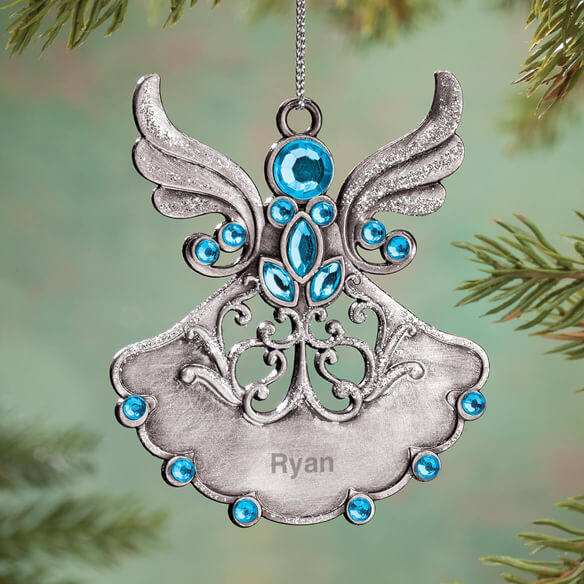 Personalized Birthstone Angel Pewter Ornament Walter Drake