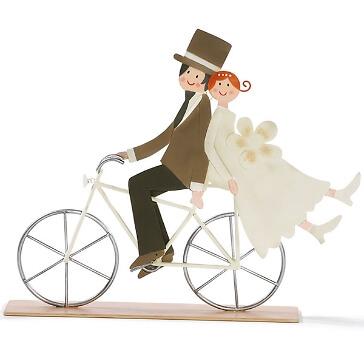 Hochzeitsgeschenk Brautpaar auf Fahrrad  Dekofigur aus