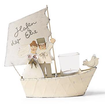 Windlicht Brautpaar im Boot  Tischdeko fr Ihre