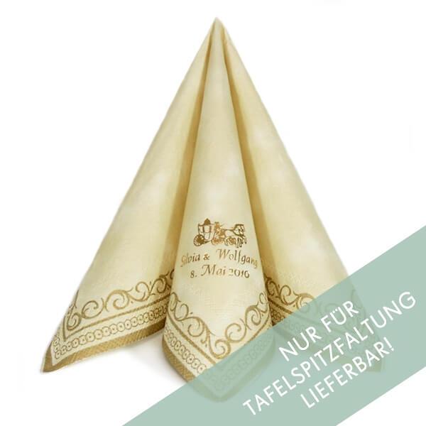 Serviette Adagio cremegold  personalisiert  weddixde