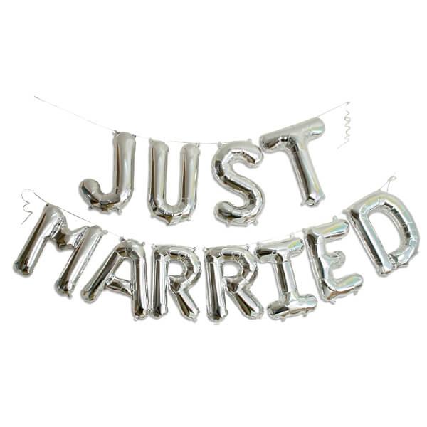 Ballongirlande JUST MARRIED silber  die perfekte Hochzeitsdekoration  weddixde
