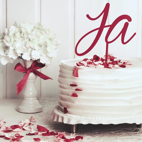 Cake Topper Hochzeit  Ja Pink  weddixde
