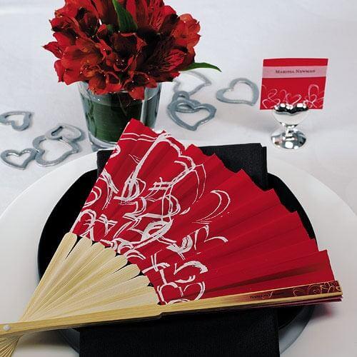 Gastgeschenk Fcher in Rot fr Frauen und Brautjungfern