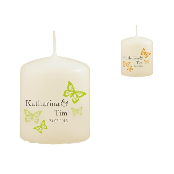 Gastgeschenk Kerze  personalisiert mit Schmetterlingen und Ranken  weddixde