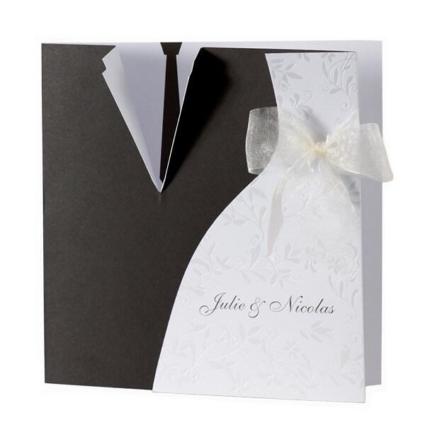 Einladungskarte Alina  schwarzweies Brautkleid und Anzug  weddixde