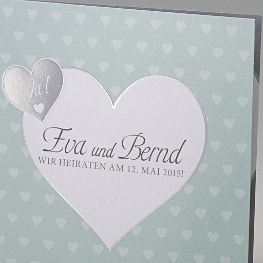 Einladungskarte Bine  mintfarbene Karte zur Hochzeit