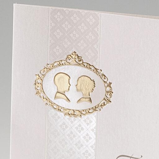 Hochzeiteinladung Debby mit goldenem Konterfei eines Paares weddix