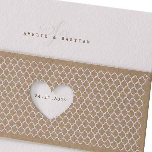 Hochzeitseinladung Elli mit Kraftpapier Banderole  weddixde