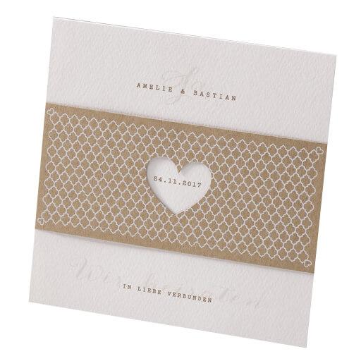 Hochzeitseinladung Elli mit Kraftpapier Banderole