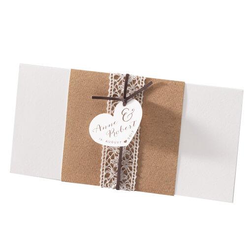 Einladungskarte Susan  Kraftpapier trifft Spitze  weddixde