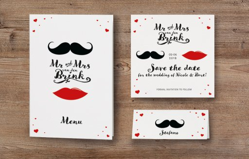Hochzeitseinladung Mr  Mrs im Moustache Design  weddixde