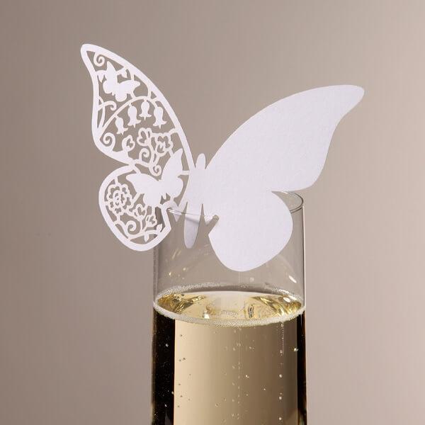 Namenskarten Schmetterling wei  zur Hochzeit  weddixde