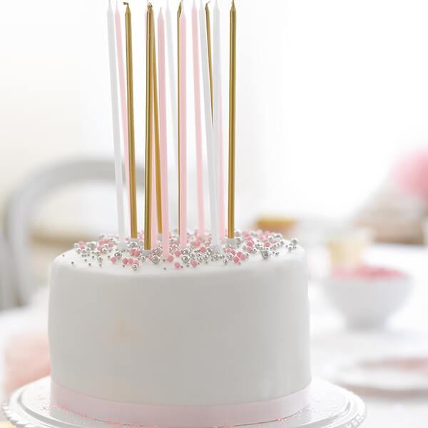 Kerzen in Gold Rosa und Wei perfekt fr Ihre