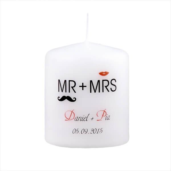 Gastgeschenk Kerze Moustache  personalisiert  weddixde