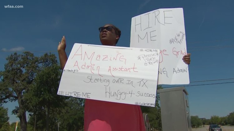 Mother handing out resumes on the corner | wfaa.com