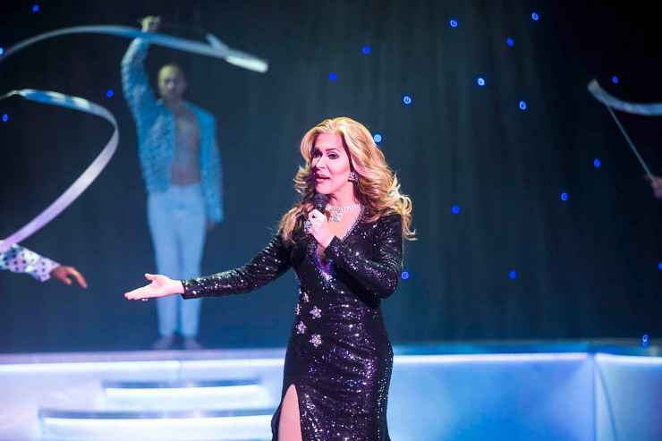 "Celine Dion impersonator Steven Wayne performs at The LINQ in Las Vegas on Tuesday. The real Celine's ballad ""My Heart Will Go On"" has become the Winnipeg jets victory song."