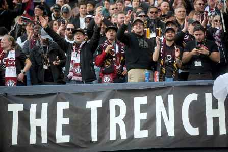 TREVOR HAGAN / WINNIPEG FREE PRESS</p><p>Fans in The Trench section of Investors Group Field celebrate after Valour FC's Micheal Petrasso scores the team's first goal at home, on a penalty kick, against Edmonton FC, Saturday, May 4, 2019.</p>