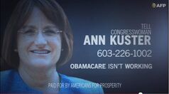 This undated framegrab image from video provided by Americans for Prosperity, shows a political ad against Rep. Ann McLane Kuster, D-N.H. stating the Affordable Care Act is not working. A new analysis finds the nation's health care overhaul deserves a place in advertising history as the focus of extraordinarily high spending on negative political TV ads that have gone largely unanswered by the law's supporters. The report, released Friday by nonpartisan analysts Kantar Media CMAG, estimates $445 million was spent on political TV ads mentioning the law since the enactment of the Affordable Care Act in 2010. Spending on negative ads outpaced positive ones by more than 15 to 1. (AP Photo/Americans for Prosperity)