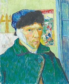 Van Gogh�s  Self-portrait with  Bandaged Ear, Easel and Japanese Print, January 1889.  �There�s a whole Van Gogh  industry: books, films, songs,  merchandise,� arts and culture writer Alison Gillmor says.