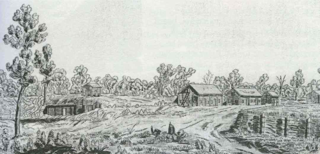View of the Red River Settlement around 1817, possibly drawn by Lord Selkirk.  (Provincial Archives of Manitoba)