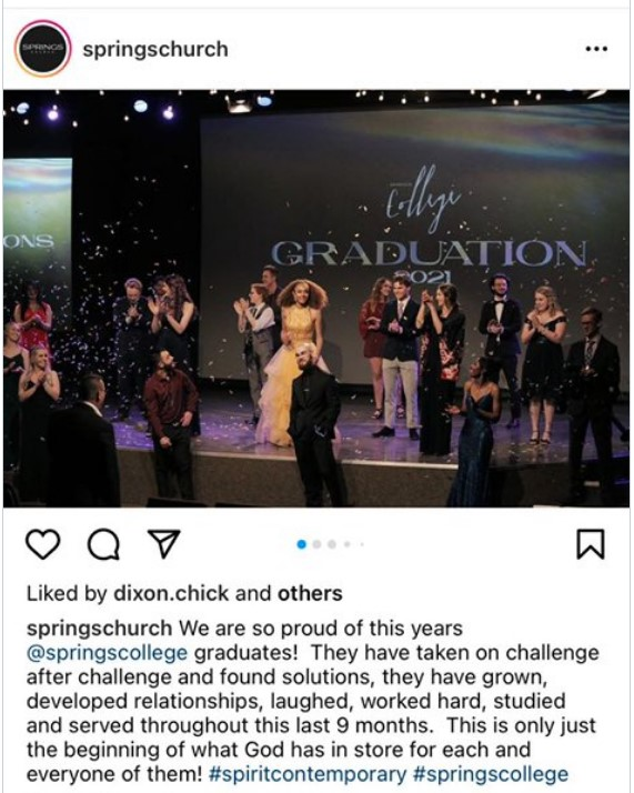 Graduates appear on stage without masks in a social-media post from Spring Church.(Instagram/Twitter)