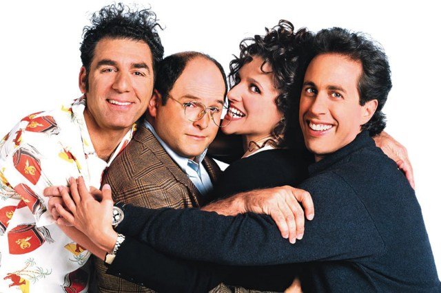 Cast of Seinfeld hugging each other