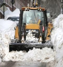 plow driver j j giugliano jr battles the snow on pleasant street near monument square in charlestown  [ 2400 x 1600 Pixel ]
