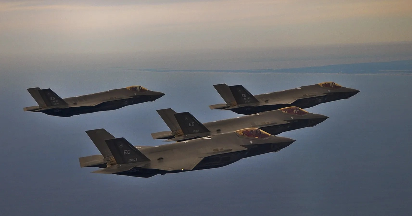 hight resolution of air force f 35s fly in formation over eglin air force base in florida