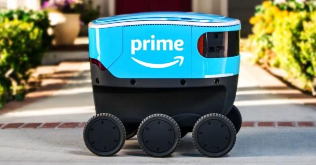 a blue, six-wheeled box-like robot