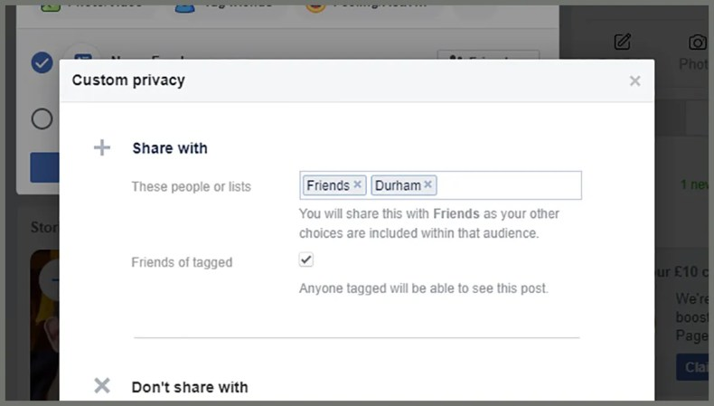screenshot of white box displaying sharing options on facebook