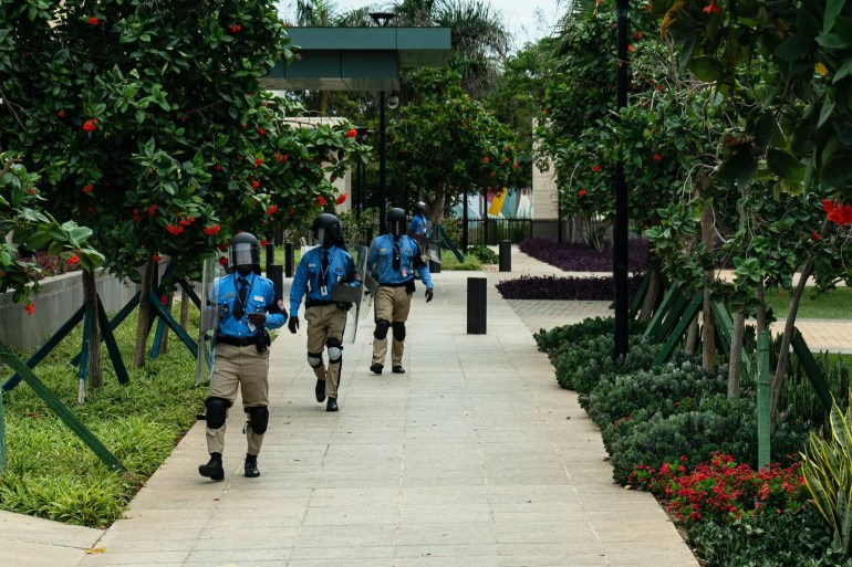 Senegalese security personnel on the grounds of the US embassy in Dakar during the training exercise.nbsp