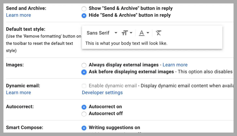 screenshot of settings page