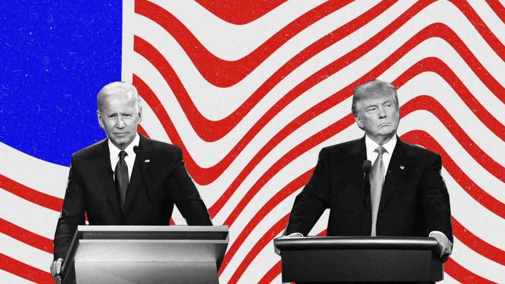Joe Biden and Donald Trump collaged over a waving American flag.