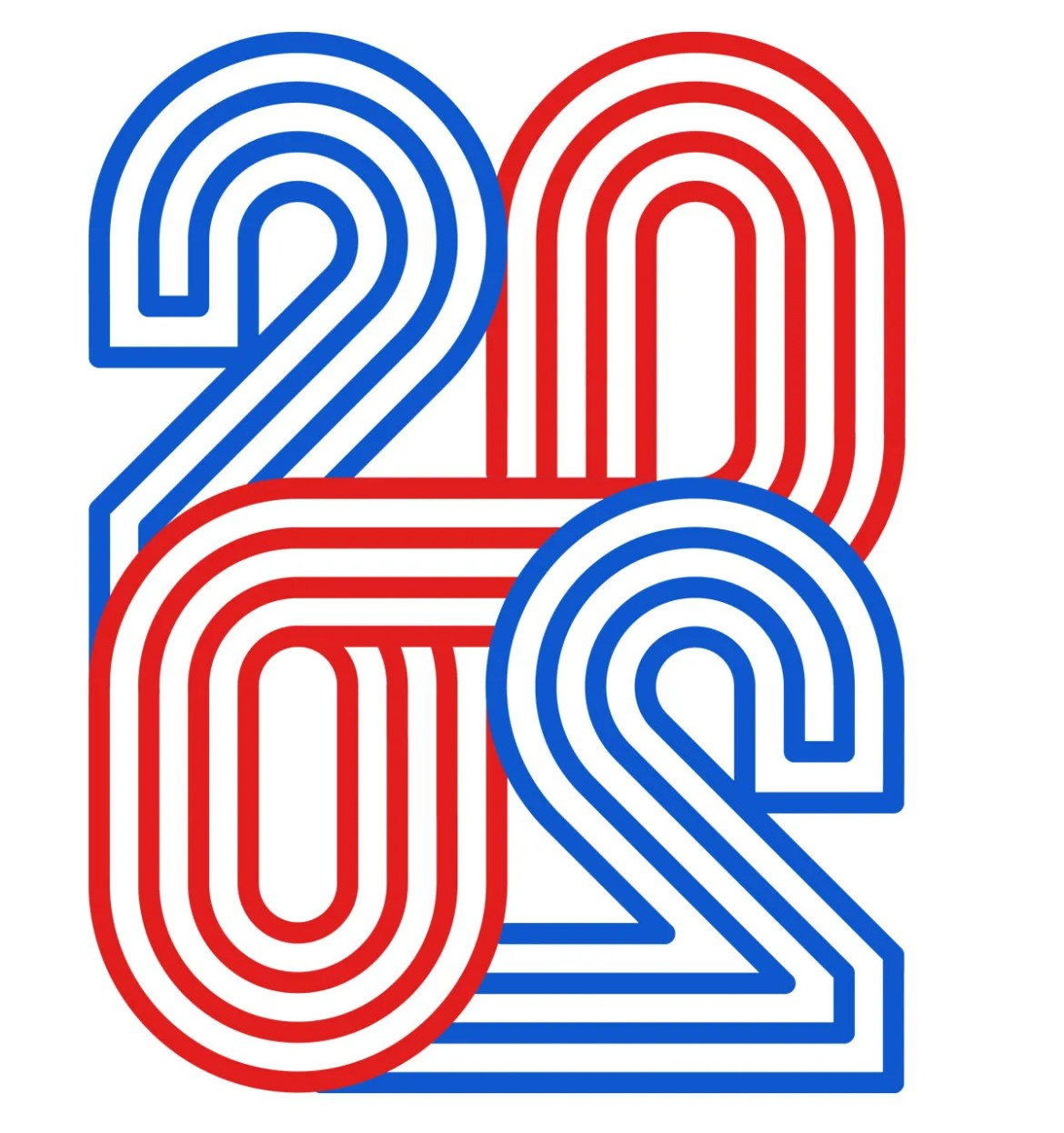 illustration of 2020 in red and blue