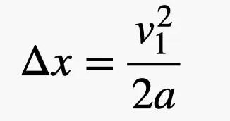 la variazione in x è uguale alla velocità al quadrato su 2 volte l'accelerazione