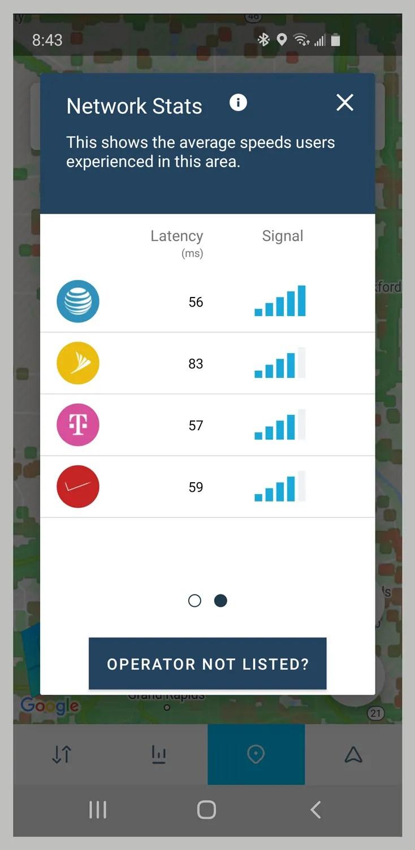 screenshot che mostra lo stato della rete