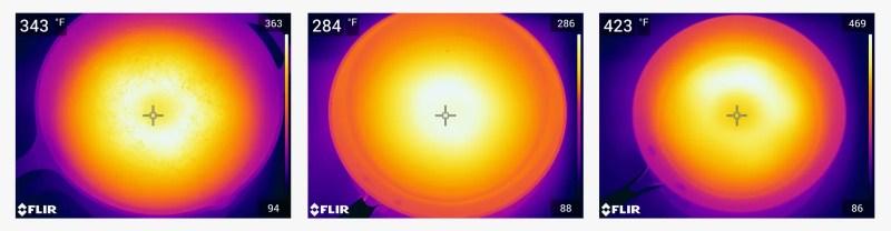 immagini a infrarossi di tre diverse padelle