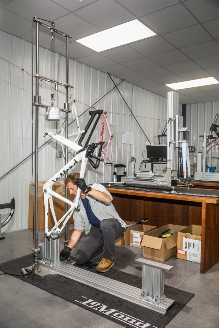 LeMond employees doing a stress test on the bike's frame