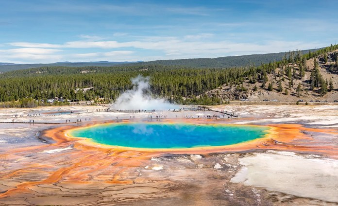 Mist rising from Grand Prismatic Spring Yellowstone