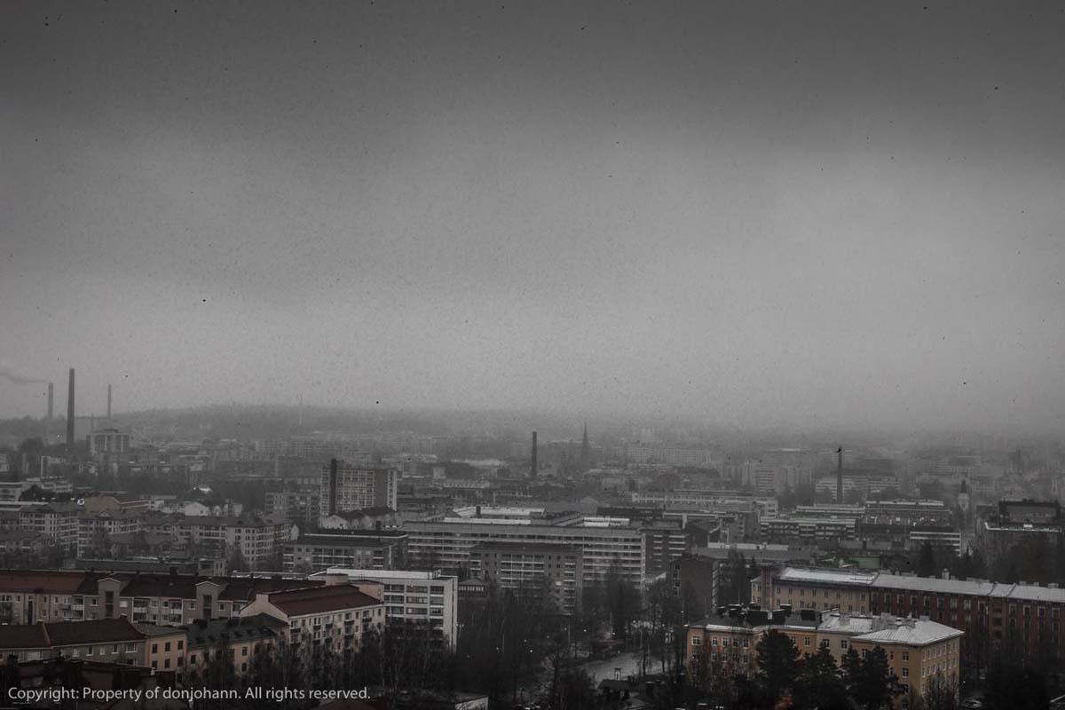 Utsikt över ett grått Tammerfors