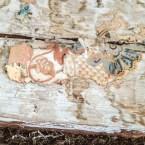 På stockväggen fanns rester av riktigt gamla tapeter.
