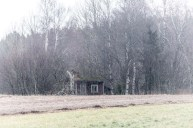 Litet hus gömmer sig under buskaget.